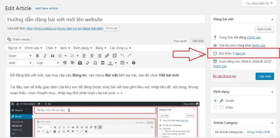 Bản thảo bài viết WordPress